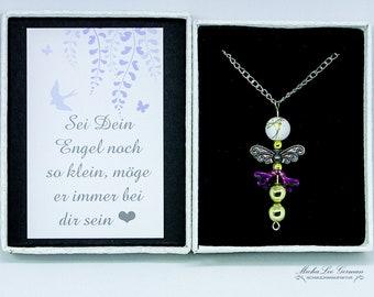 Gold Perlen Engel mit 80 cm langer Halskette