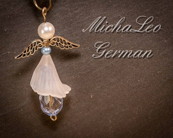 Elegante Engel Halskette weiß Himmelblau