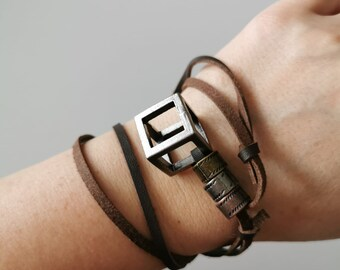 Leather Edestahl men jewelry, necklace and bracelet, cube, gift for father, with personal message - cards and Jutta bags opti
