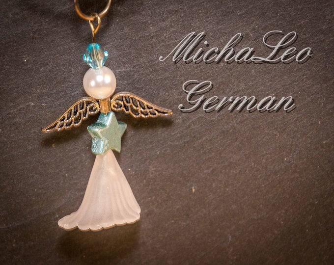 Weiße Engel Halskette mit Glassperlen