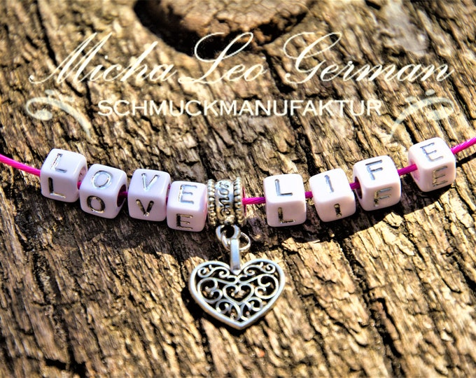 LOVE LIFE Halz Coliler made of alloy stainless steel in pink clay with heart pendant of antique silver, girl jewelry, spiritual, gift, trend