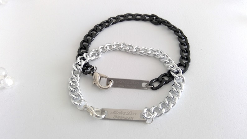 Armor Mens Bracelet engraving silver stainless steel plate carabiners gift for Man