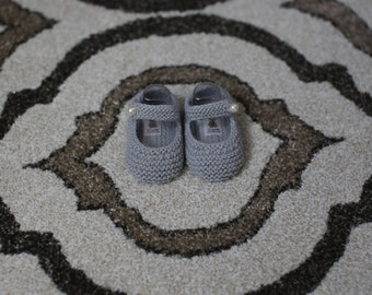 Hand Knitted Gray Baby Booties, Baby Booties, Baby Shoes, Knitted Baby Shoes, Handmade Baby Booties, Handmade Baby Shoes
