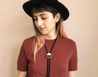 Modern Bolo Tie for Her | Adjustable Geometric Statement Jewelry