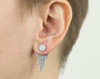 Silver Ear Jacket, Ear Jacket Earrings, Ear Cuff Earrings, Unisex Earrings, Laser Cut Earrings, Ear Cuff, Silver Ear Cuff, Art Deco Earrings