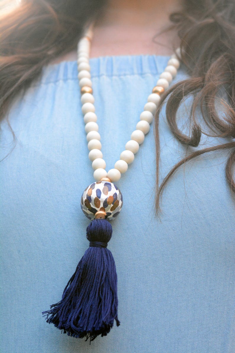Tassel Necklace with Blue Painted Bead