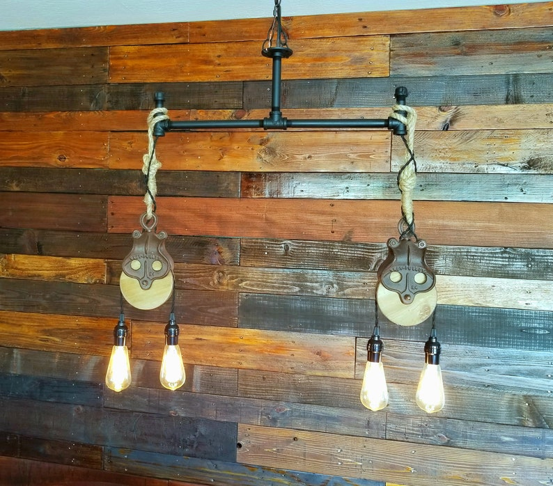 Iron Pipe Pulley Pendant Lights Etsy