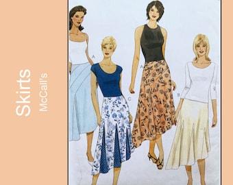Flared Skirt sewing pattern with godets, asymmetrical hemline, semi-fitted, shaped hem, detail on yoke, UNCUT McCalls M4387, Size 4 6 8 10,