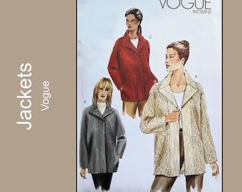 Vogue V7833 - Lined Jacket with Raglan Sleeves, below hip car coat, loose fitting fall coat, UC Vogue 7833, 8 10 12;  14 16 18;  20, 22, 24