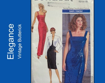 Evening gown / cocktail dress with cropped jacket, sewing pattern, back hemline slit, square neckline, UNCUT Butterick 4532, Size 12-14-16