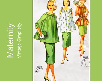 1950s Vintage Maternity sewing pattern, 3 piece outfit, top, skirt and shorts, adjustable waistline, mid-century, Simplicity 1488, Bust 32