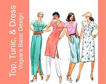Pullover v-neck top, tunic, dress pattern, maxi dress, side seam or patch pockets, side slit, extended shoulders, UC Vogue 2414, 12 Bust 34