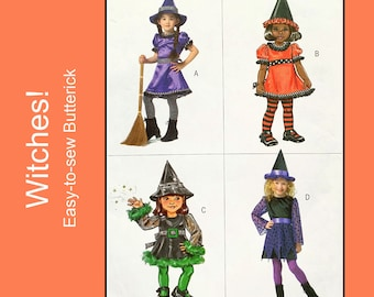 Witch Costume Sewing Pattern, dress and witches hat, Halloween Costume Toddler / Child Size 1 - 2 - 3, Butterick B4629, Easy to Sew, UNCUT