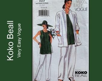 Koko Beall Vogue 7017, Easy Jacket, Tunic, Pants sewing pattern, loose-fitting jacket, elastic waist pants, buttoned tunic, UC Size 14 16 18