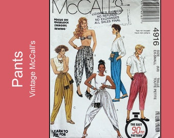 90s Harem Pants sewing pattern, high waisted, pull on, loose-fitting pants, sash, learn to sew pattern, UNCUT McCall's 4916, Size XS - 6, 8