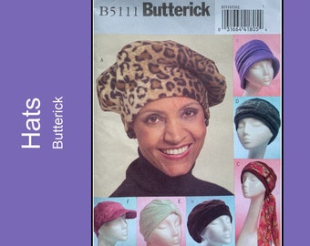 Butterick B5111, Beret, Turban, Cap and Hat sewing pattern, hat with scarf tie, bucket hat, One Size, Uncut
