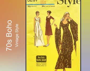 Style 3267, 70s Boho Maxi Dress original sewing pattern, rare, high waistline, peplum, long pointed shaped sleeves, scooped neck, Bust 34