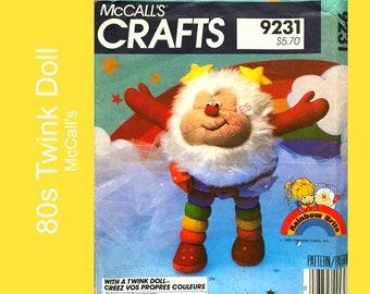 "Rainbow Brite TWINK doll pattern 13"" stuffed toy, stuffie, retro 80s toy, 1980s cartoon character, Craft fake fur, McCalls 9231 / 742 UNCUT"