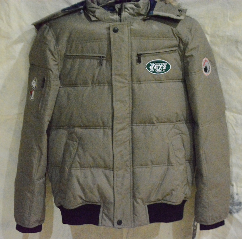 check out 144b5 a837b New York Jets Jacket (L) Peanuts Edition Winter Coat/NFL Jacket /Aviator  Jacket