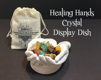 """Healing Hands Crystal Display Dish, 3"""" x 4"""" Hands of God Dish Without Stones, God Hands Display Bowl, Made in Canada"""