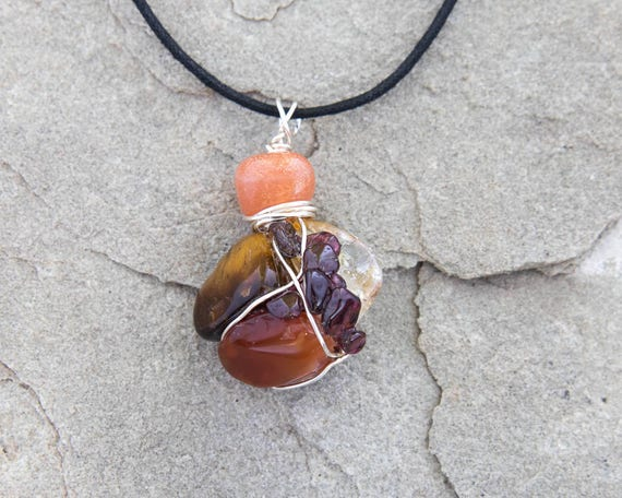 Joy and Happiness Amulet Wire Wrapped Pendant OOAK Earth Friendly Natural Healing Eco Fashion Gift Soul Journey Healing Jewelry