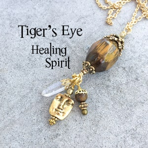 Tiger\u2019s Eye Moon /& Stars Pendant  Good Luck Necklace  Inner Strength Protection Necklace