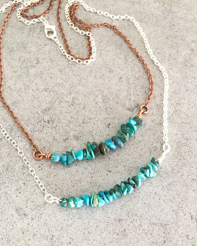 Natural Turquoise Protection Healing Bar Necklace  Meditation Jewelry  Throat Chakra Intuition Necklace