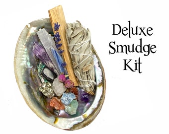Deluxe Smudge Kit, 17 Piece Energy Clearing Crystal Healing Kit, Sage, Palo Santo, Abalone Shell, House Warming Gift, Healing Key Chain