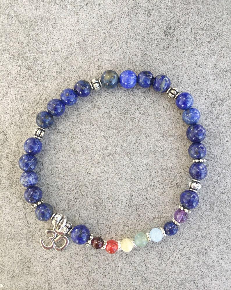 Lapis Lazuli 3rd Eye Chakra Mala Yoga Reiki Healing Energy Bracelet with Chakra Stones
