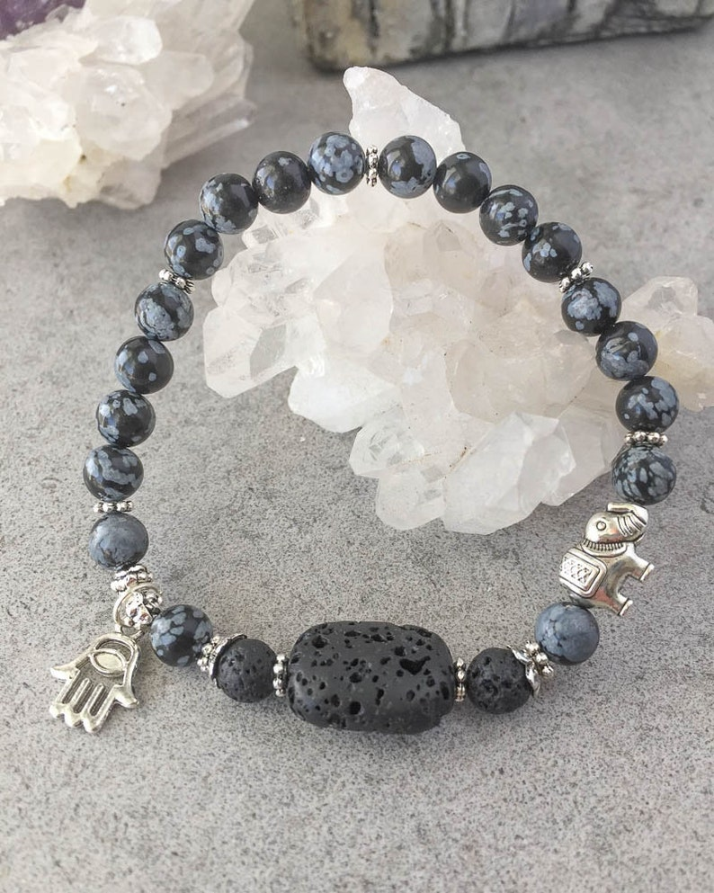 Snowflake Obsidian Aromatherapy Lava Rock Oil Diffuser Healing Energy Mala Bracelet