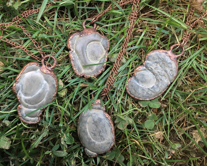 Lucky Talisman Rare Fairy Stone Electroformed Copper Necklace Natural Clay Glacial Concretion Goddess Stone Health /& Prosperity Jewelry