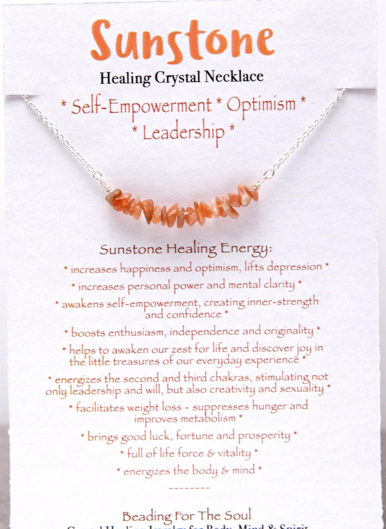 Sunstone Optimistic Happiness Personal Power Bar Necklace  Healing Sacral Chakra Jewelry