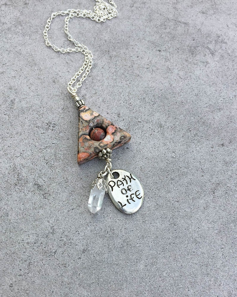Leopardskin Jasper Magnetism  Path of Life Healing Necklace  Independence Creativity Necklace