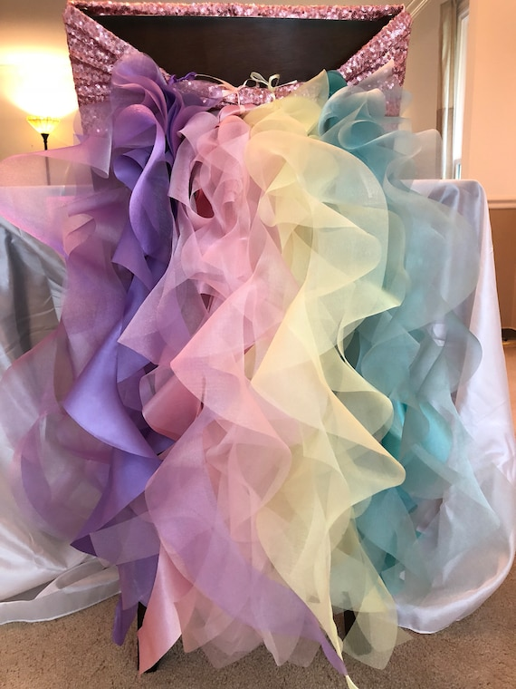 Fine Rainbow Chair Cover Unicorn Party Cumpleanos Caraccident5 Cool Chair Designs And Ideas Caraccident5Info