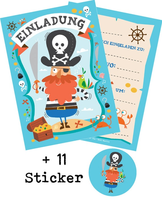 10 Invitation Cards Children S Birthday Pirates Schatzssuche