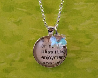 Bliss vintage dictionary word glass dome pendant with crystal snowflake charm