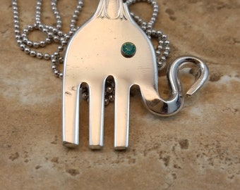 Elephant critter from vintage silver plated fork, strength, wisdom, luck