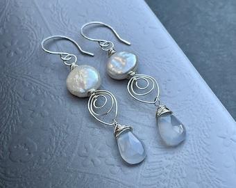 Blue Chalcedony Earrings, Coin Pearl Earrings, Wire Wrapped Leaf Earrings, Sterling Silver