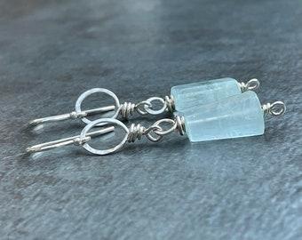 Aquamarine Nugget Earrings, Aquamarine Dangle Earrings, Silver Aquamarine Drops, Blue Gemstone Earrings, March Birthstone Jewelry