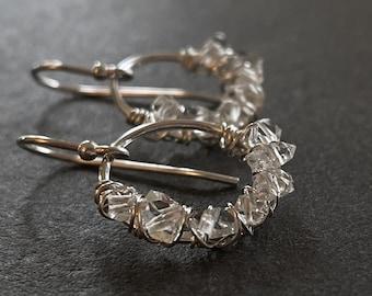Herkimer Diamond Earrings, Quartz Hoop Earrings, Diamond Ring Earrings, Sterling Silver Hoops, April Birthstone