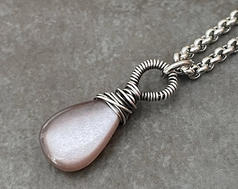 Moonstone Pendant, Brown Stone Necklace, Chocolate Moonstone Necklace, Silver Moonstone, Copper Moonstone
