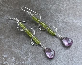 Sterling Silver Green Peridot Earrings, Lavender Amethyst Dangle Earrings, August Birthstone Earrings, February Birthstone, Christmas Gift