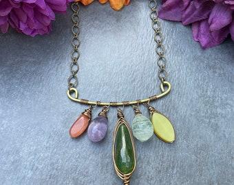 Colorful Boho Necklace, Gemstone Bar Necklace, Canada Green Jade, Moonstone, Amethyst, Green Rutilated Quartz, Yellow Jade