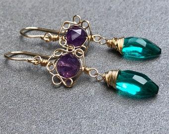 Green Dangle Earrings, Teal Green Quartz, Green Gemstone Earrings, Amethyst Earrings, Flower Earrings, 14k Gold Filled