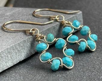 Beaded Turquoise Earrings, Blue Magnesite, 14k Gold Fill, Turquoise Dangle Earrings, Dainty Turquoise Drop Earrings, Gift for Her