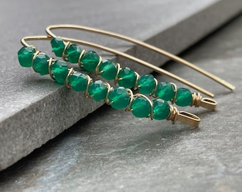 Green Stone Earrings, Green Onyx Earrings, Green Gemstone, Green and Gold Earrings, Gift for Her, 14k Gold Fill