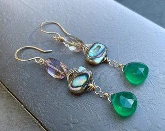 Ametrine, Abalone, Green Onyx Earrings, Abalone Dangle Earrings, Ametrine Earrings, Green Gemstone, Shell, 14k Gold Fill, Christmas Gift