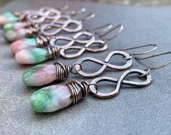 Copper Infinity Earrings, Copper Dangle Earrings, Copper and Stone, Watermelon Jade Earrings, Jade, Gift for Her
