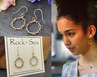 14k Gold Filled Hoops, Seen on High School Musical: The Series, Gold Wreath Earrings, Gold Hoop Earrings, Dainty Hoops, Christmas Gift