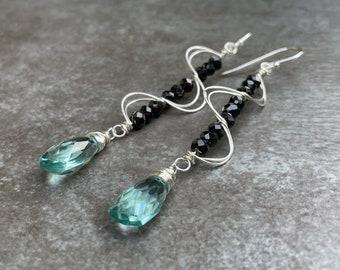 Black Spinel Earrings, Aqua Quartz Dangle Earrings, Black and Aqua, Silver and Black Earrings, Elegant Black Earrings, Christmas Gift
